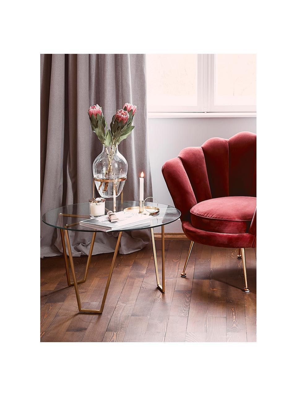 Tavolino da salotto rotondo con piano in vetro Scarlett, Struttura: metallo ottonato, Piano d'appoggio: vetro temperato, Struttura: ottone, piano d'appoggio: trasparente, Ø 71 x Alt. 42 cm