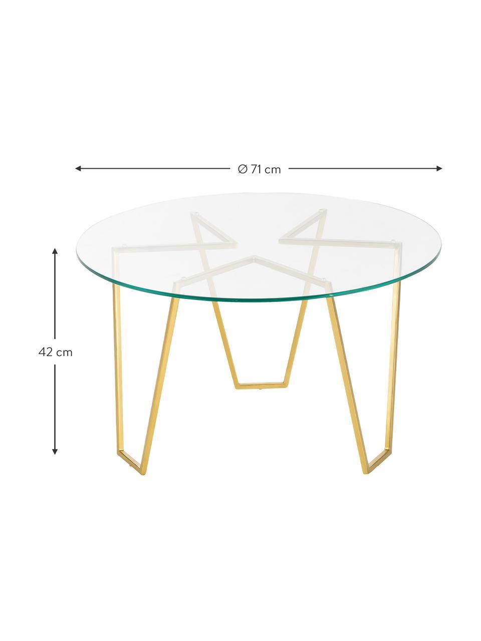 Runder Couchtisch Scarlett mit Glasplatte, Gestell: Metall, vermessingt, Tischplatte: Sicherheitslas,, Gestell: Messing, Tischplatte: Transparent, Ø 71 x H 42 cm