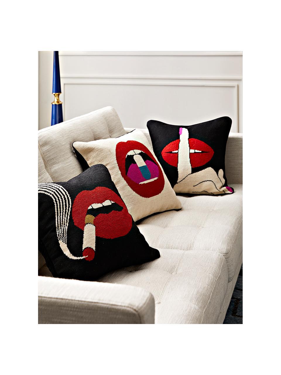 Ręcznie haftowana poduszka z wypełnieniem Haze, Czarny, czerwony, S 45 x D 45 cm
