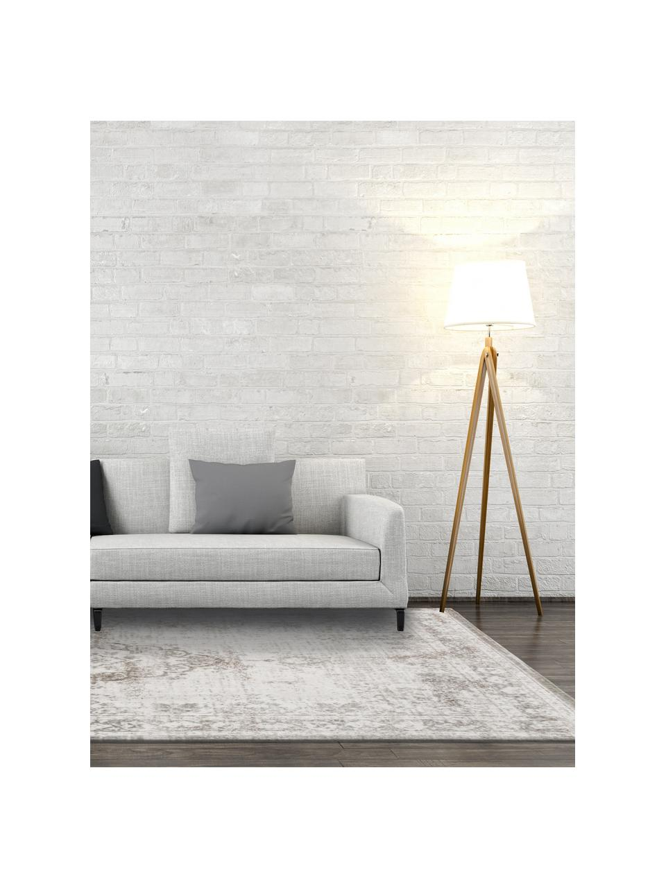 Tappeto vintage in ciniglia color grigio chiaro/marrone Medaillon, Grigio chiaro, marrone, Larg. 280 x Lung. 360 cm (taglia XL)