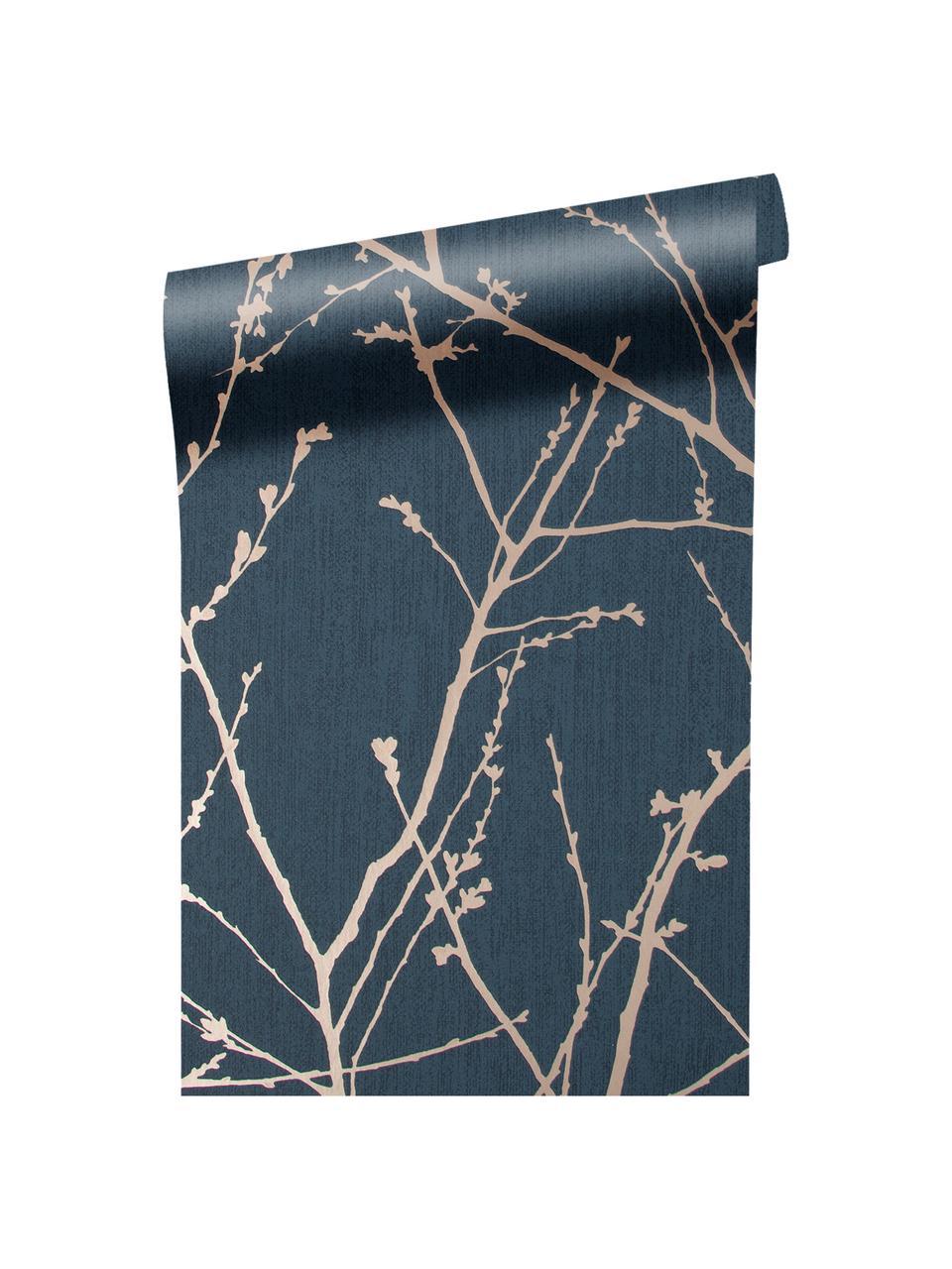 Carta da parati Nature Blue, Tessuto non tessuto, Blu, ramato, Larg. 52 x Alt. 1005 cm