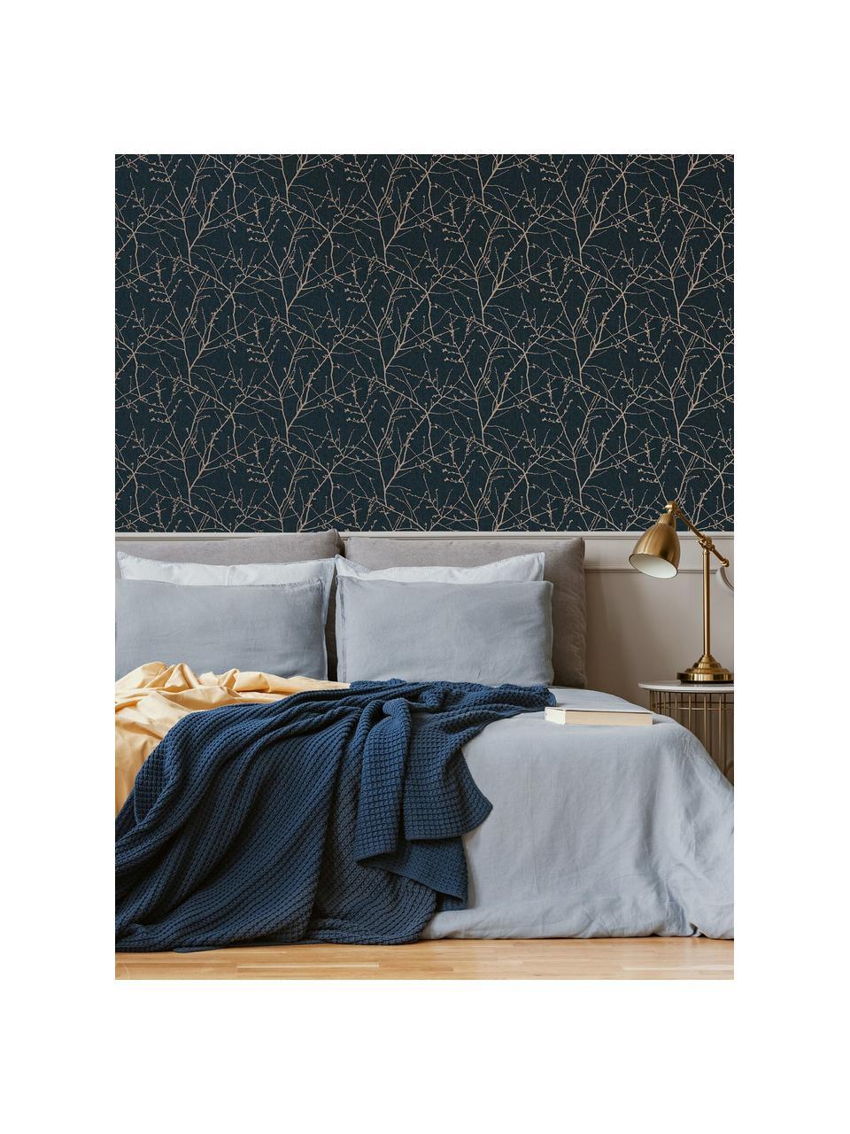 Tapete Nature Blue, Vlies, Blau, Kupferfarben, 52 x 1005 cm