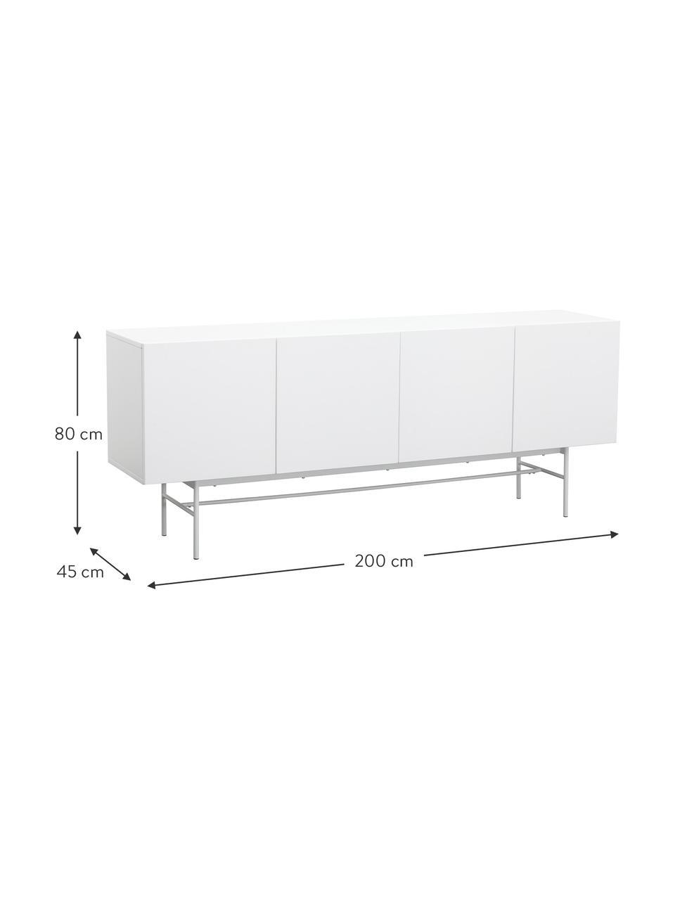 Modernes Sideboard Anders mit Türen in Weiss, Korpus: Mitteldichte Holzfaserpla, Korpus: WeissFüsse: Weiss, matt, 200 x 80 cm