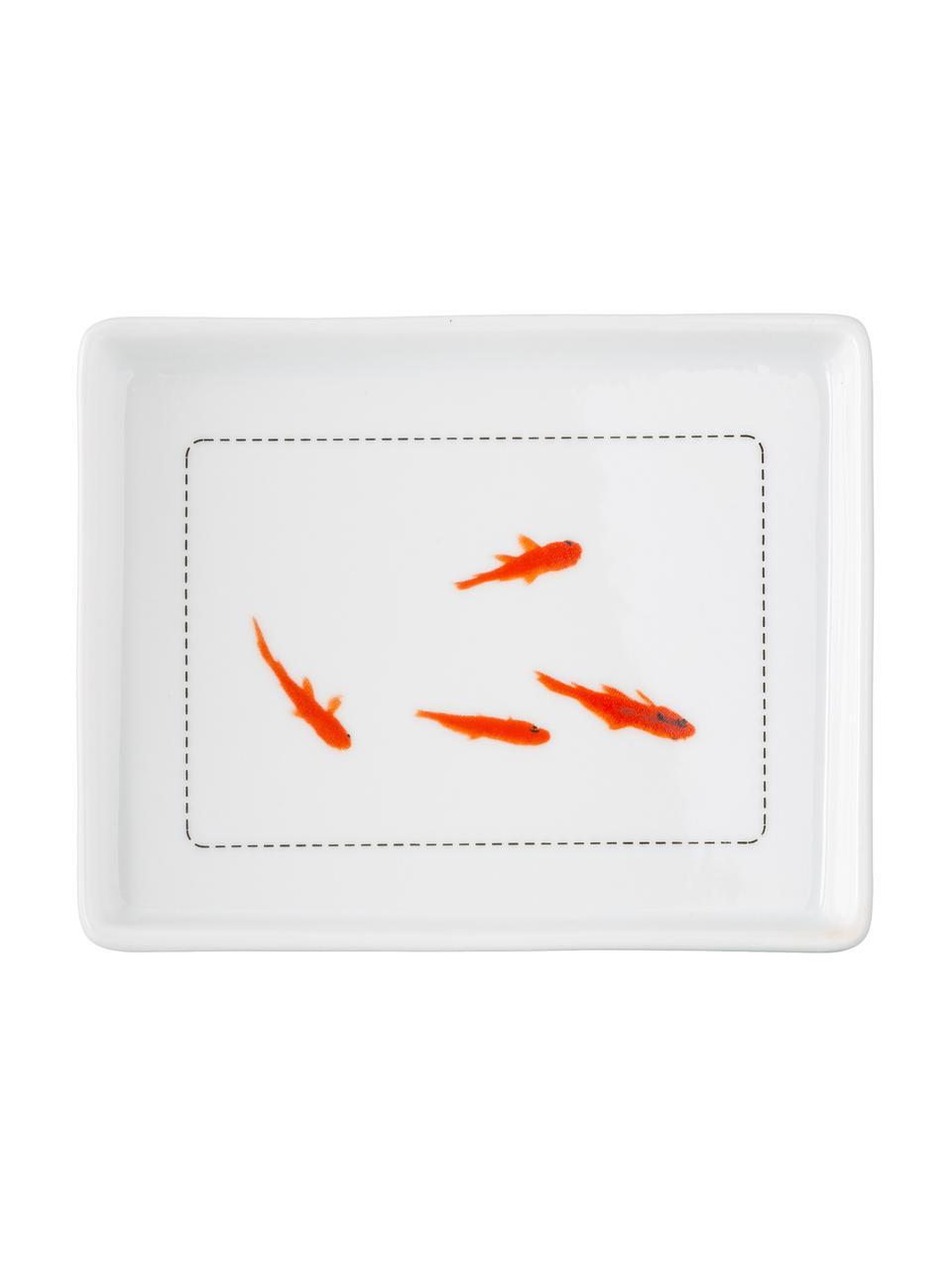 Butterdose Fische mit Prägung und Goldfische auf der Unterseite, Porzellan, Deckel: WeißUntersetzer:Weiß, Orange, Schwarz, 14 x 6 cm