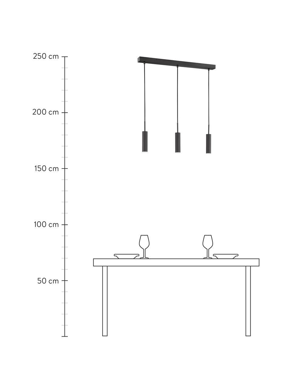 Dimmbare LED-Pendelleuchte Stina, Lampenschirm: Metall, beschichtet, Baldachin: Metall, beschichtet, Schwarz, matt, 70 x 24 cm