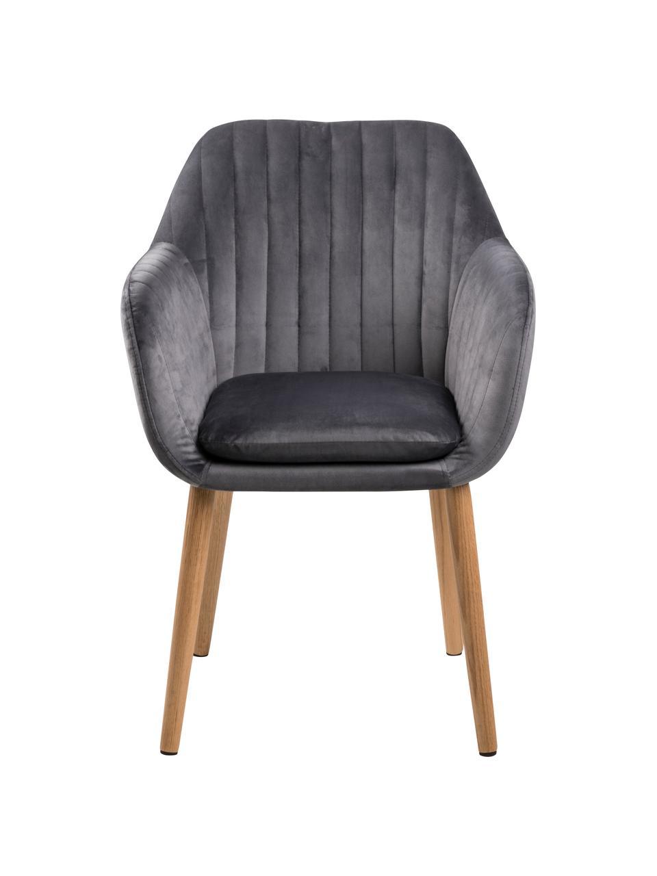 Krzesło z podłokietnikami z aksamitu i drewnianymi nogami Emilia, Tapicerka: aksamit poliestrowy Dzięk, Nogi: drewno dębowe, olejowane, Aksamitny ciemny szary, czarny, S 57 x G 59 cm