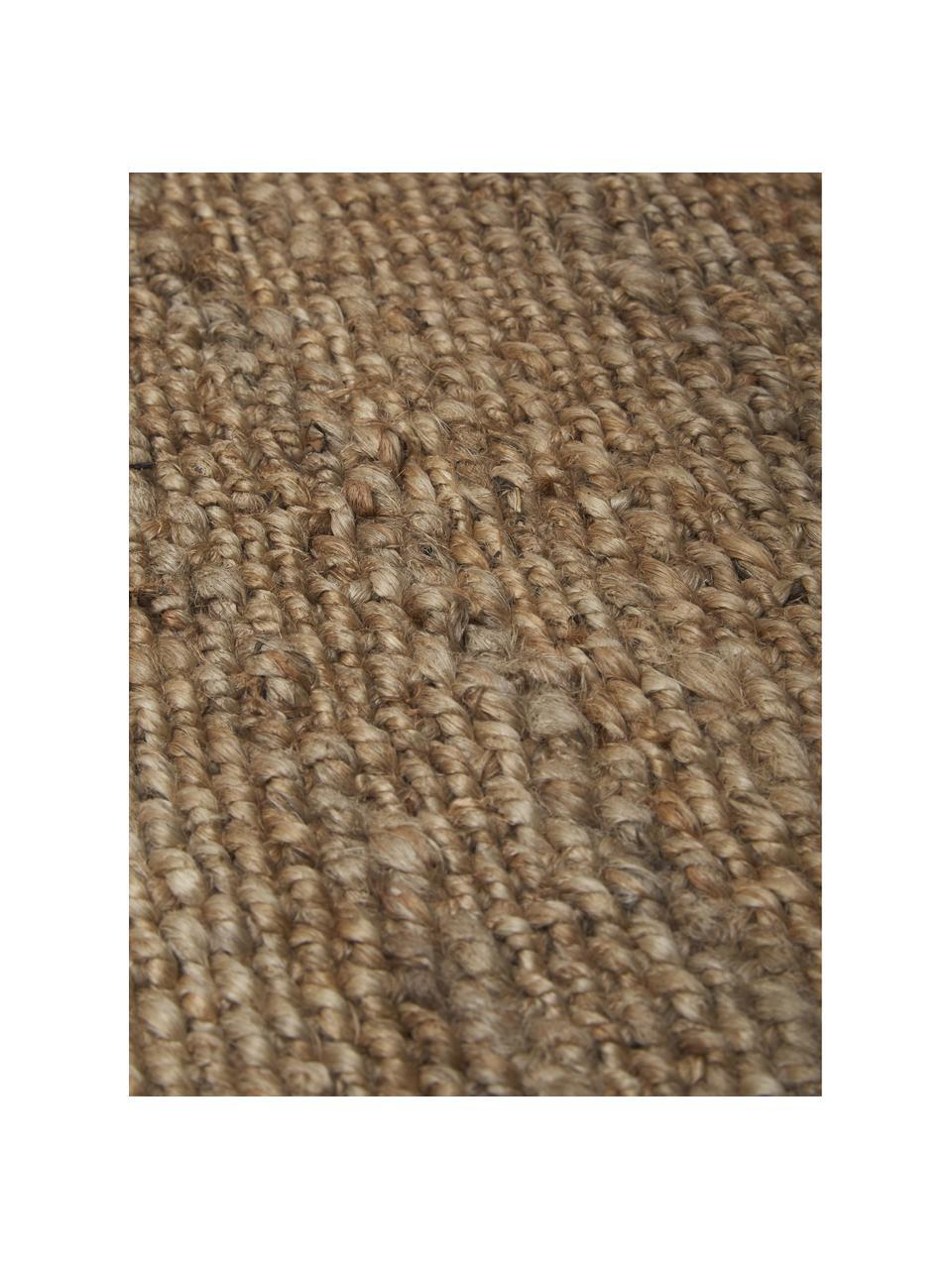 Handgemaakt juten vloerkleed Cadiz met franjes, 100% jute, Jutekleurig, B 120 x L 180 cm (maat S)