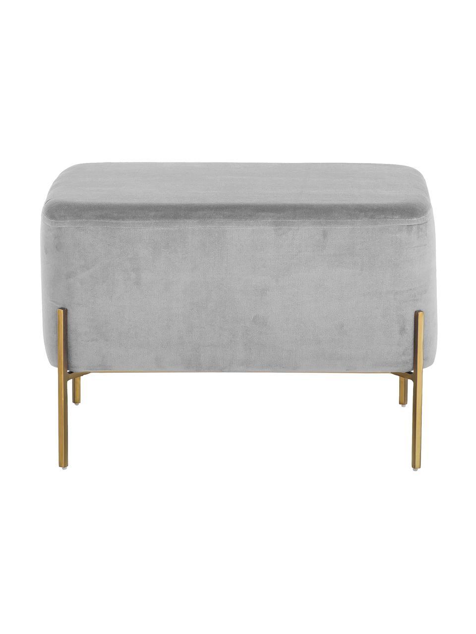 Puf z aksamitu Harper, Tapicerka: aksamit bawełniany, Jasny szary, odcienie złotego, S 64 x W 44 cm