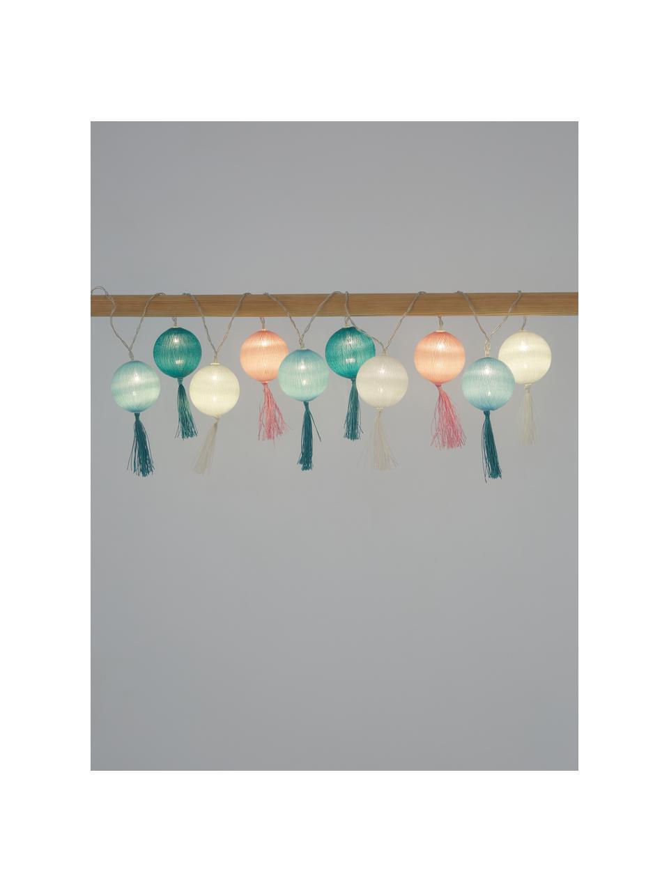 Ghirlanda a LED Jolly Tassel, 185 cm, 10 lampioni, Lanterne: cotone, Bianco, rosa, verde, blu, Lung. 185 cm