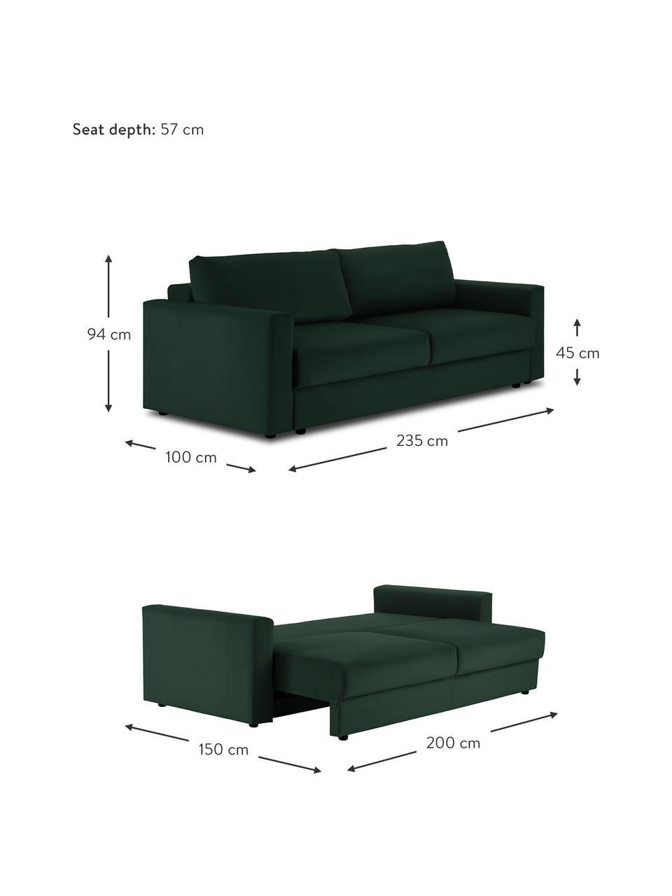 Fluwelen slaapbank Tasha in donkergroen, Bekleding: fluweel (100% polyester), Frame: massief grenenhout, multi, Poten: kunststof, Fluweel groen, 235 x 100 cm