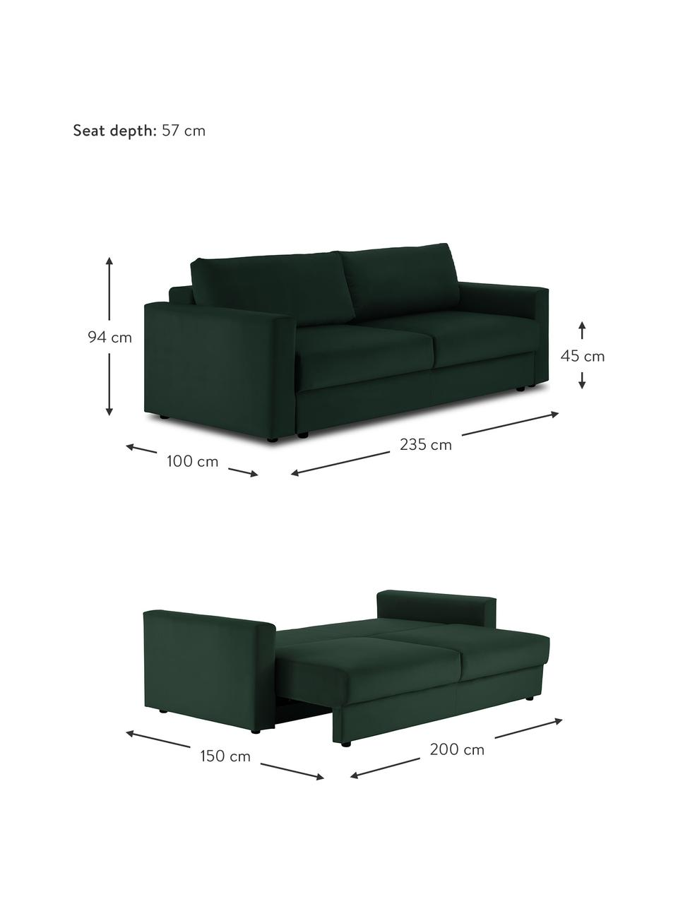 Sofa rozkładana z aksamitu Tasha, Tapicerka: aksamit (100% poliester) , Stelaż: lite drewno sosnowe, skle, Nogi: tworzywo sztuczne, Aksamitny zielony, S 235 x G 100 cm