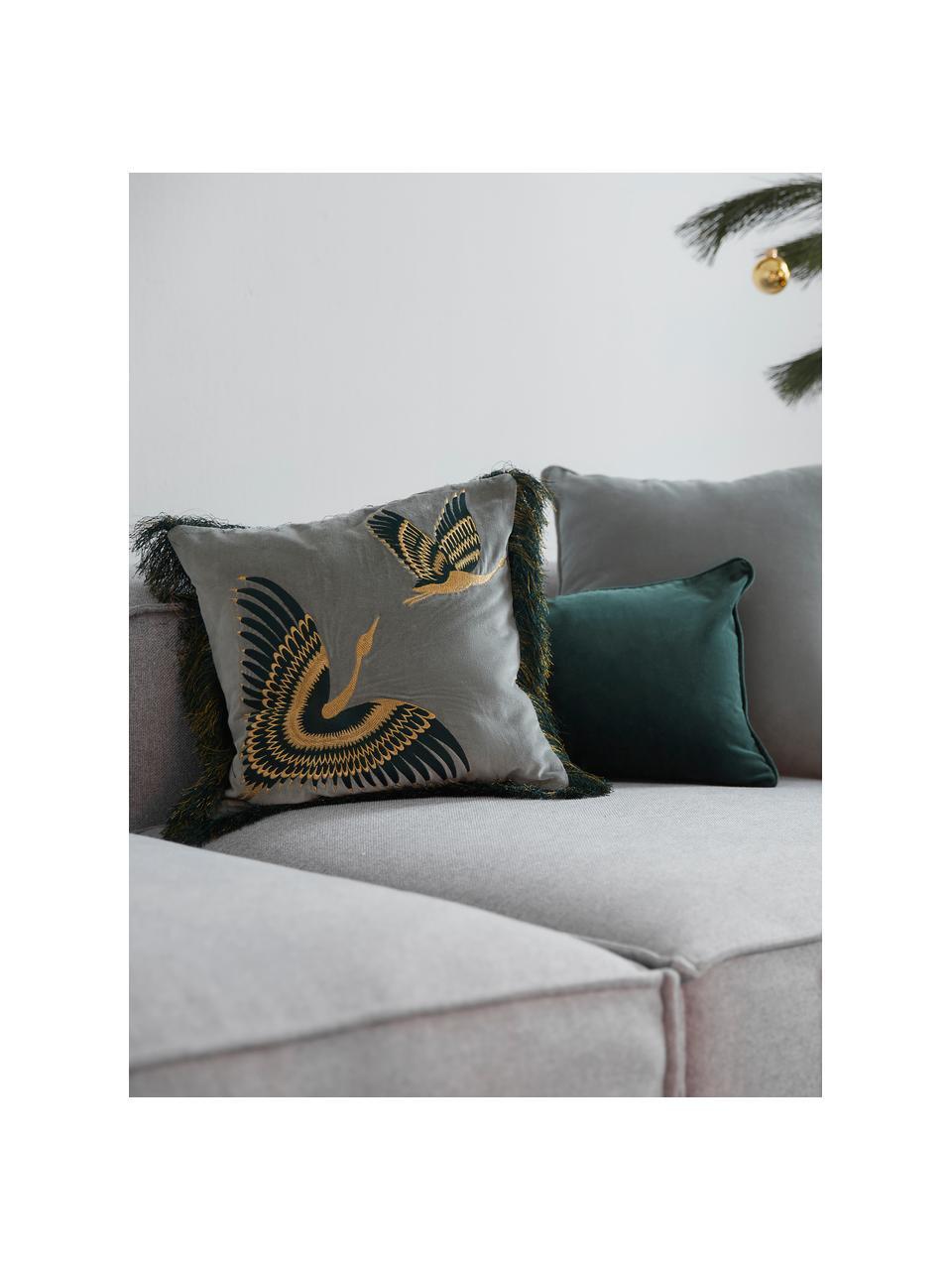 Federa arredo in velluto ricamato con frange Onyx, Frange: poliestere, Verde salvia, petrolio, dorato, Larg. 40 x Lung. 40 cm