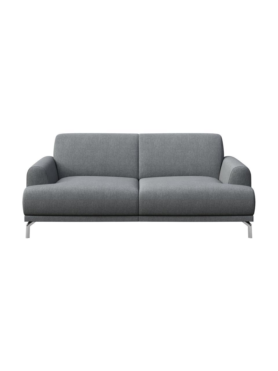 Sofa Puzo (2-osobowa), Tapicerka: 100% poliester, Nogi: metal lakierowany, Jasny szary, S 170 x G 84 cm