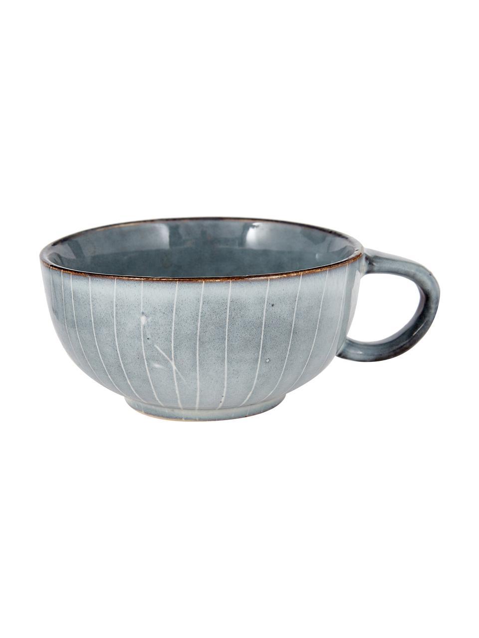 Tazza con piattino in gres fatti a mano Nordic Sea, Gres, Tonalità grigie e blu, Ø 11 x Alt. 5 cm