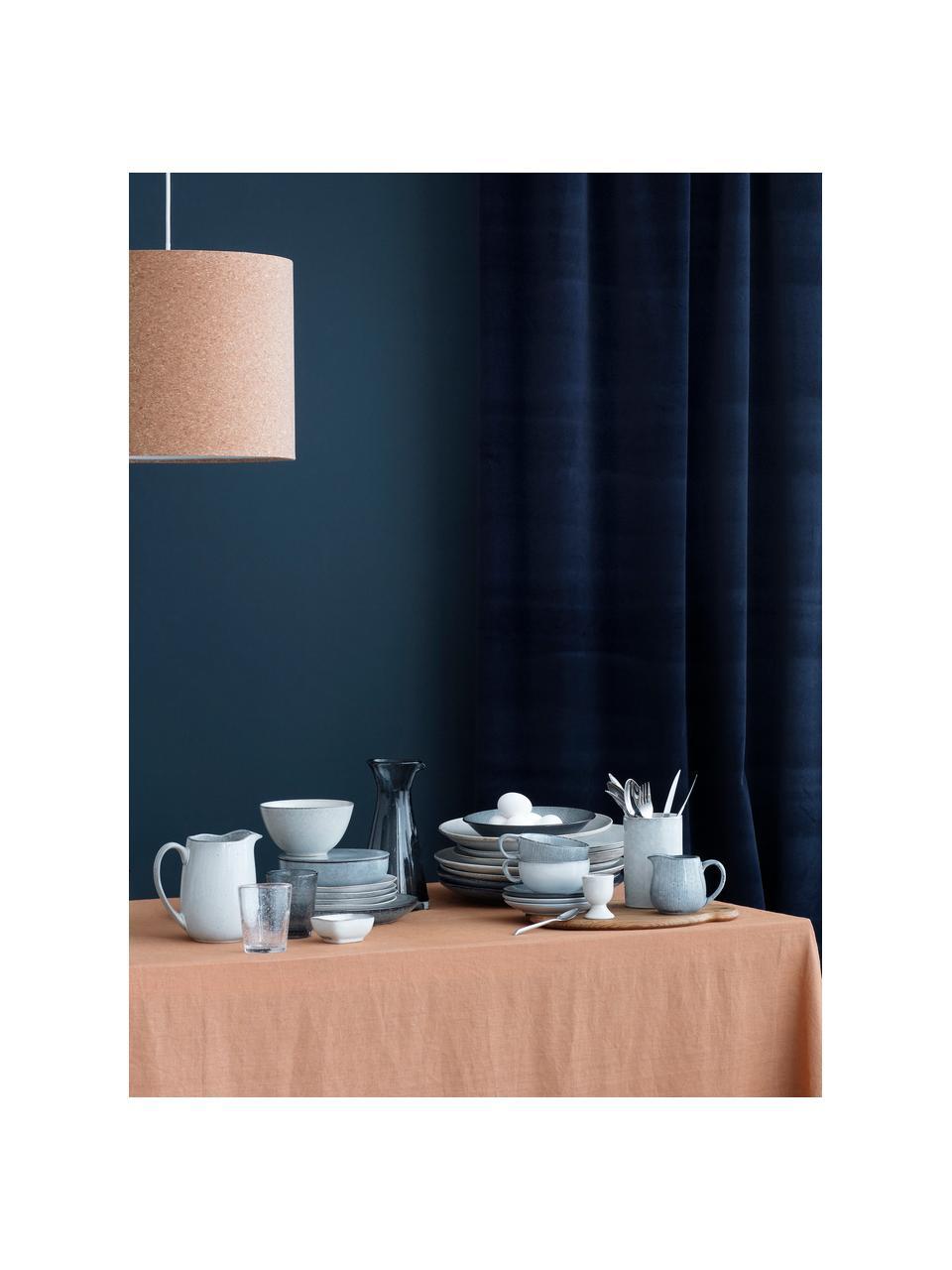 Ręcznie wykonana filiżanka ze spodkiem z kamionki Nordic Sea,, Kamionka, Odcienie szarego, odcienie niebieskiego, Ø 11 x W 5 cm