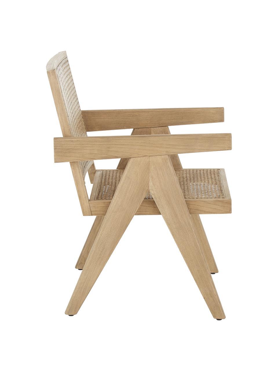 Sedia a poltrona con intreccio viennese Sissi, Struttura: legno massiccio di querci, Seduta: rattan, Struttura: legno di quercia Seduta: beige, Larg. 58 x Prof. 66 cm
