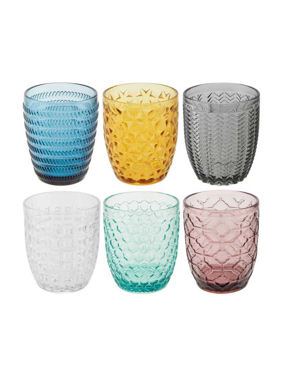 Wassergläser Geometrie in Bunt mit Strukturmuster, 6er-Set, Glas, Blau, Grün, Grau, Rosa, Goldgelb, Transparent, Ø 8 x H 10 cm