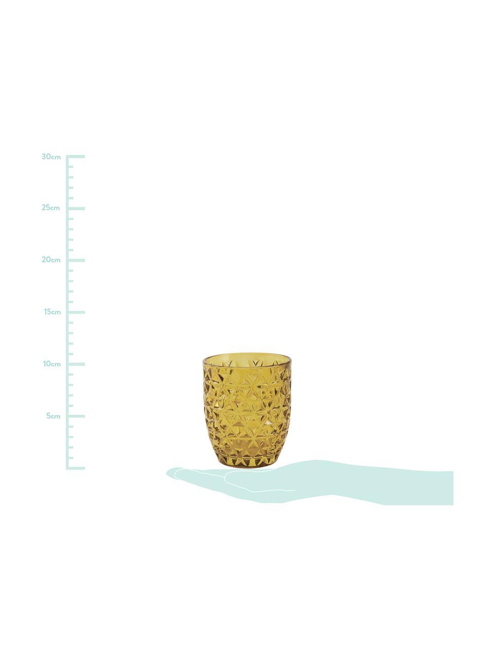Komplet szklanek do wody Geometrie, 6 elem., Szkło, Niebieski, zielony, szary, blady różowy, żółtozłoty, transparentny, Ø 8 x W 10 cm