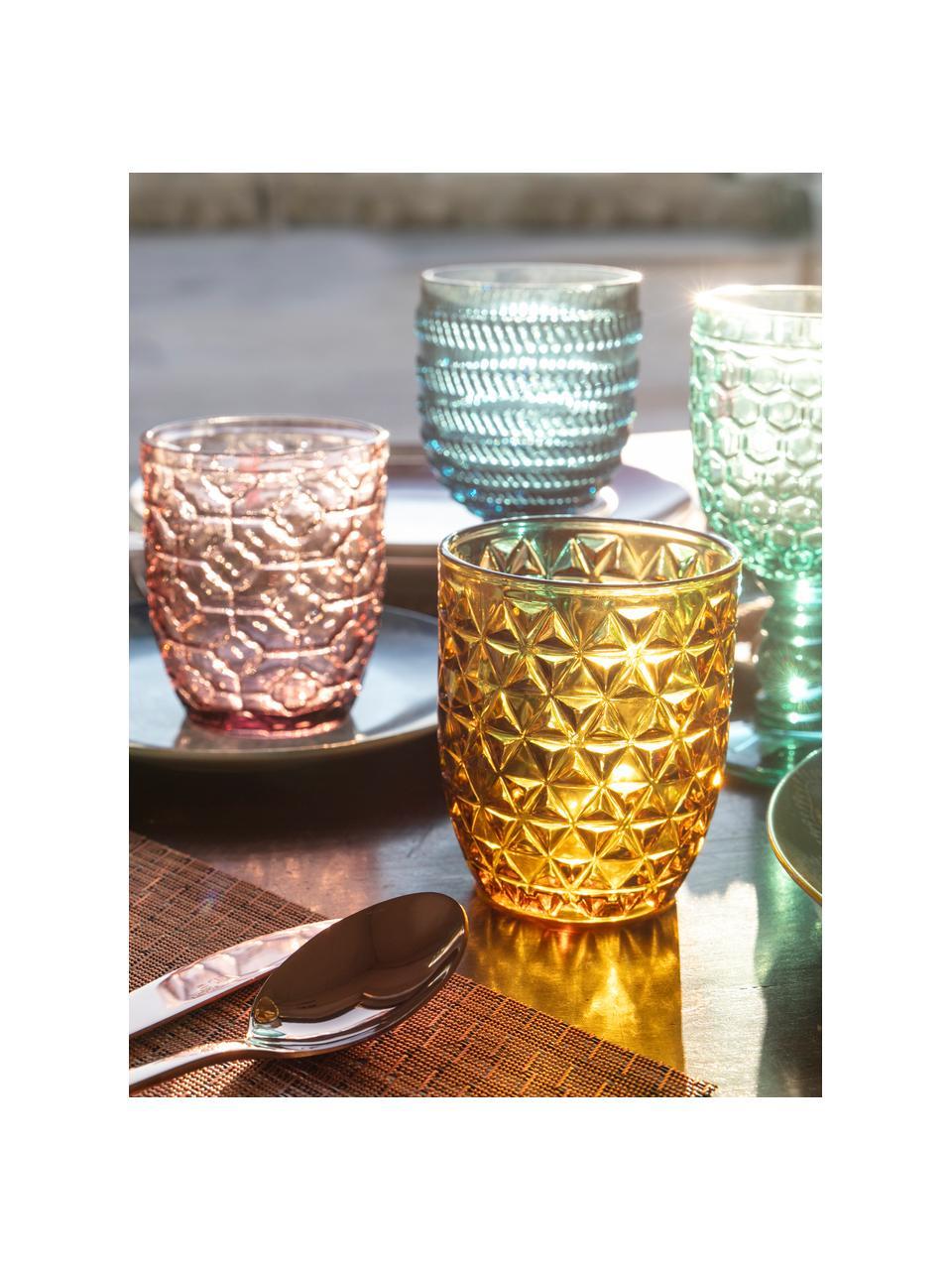 Bicchiere acqua con motivo in rilievo Geometrie, set di 6, Vetro, Blu, verde, grigio, rosa, giallo oro, trasparente, Ø 8 x Alt. 10 cm
