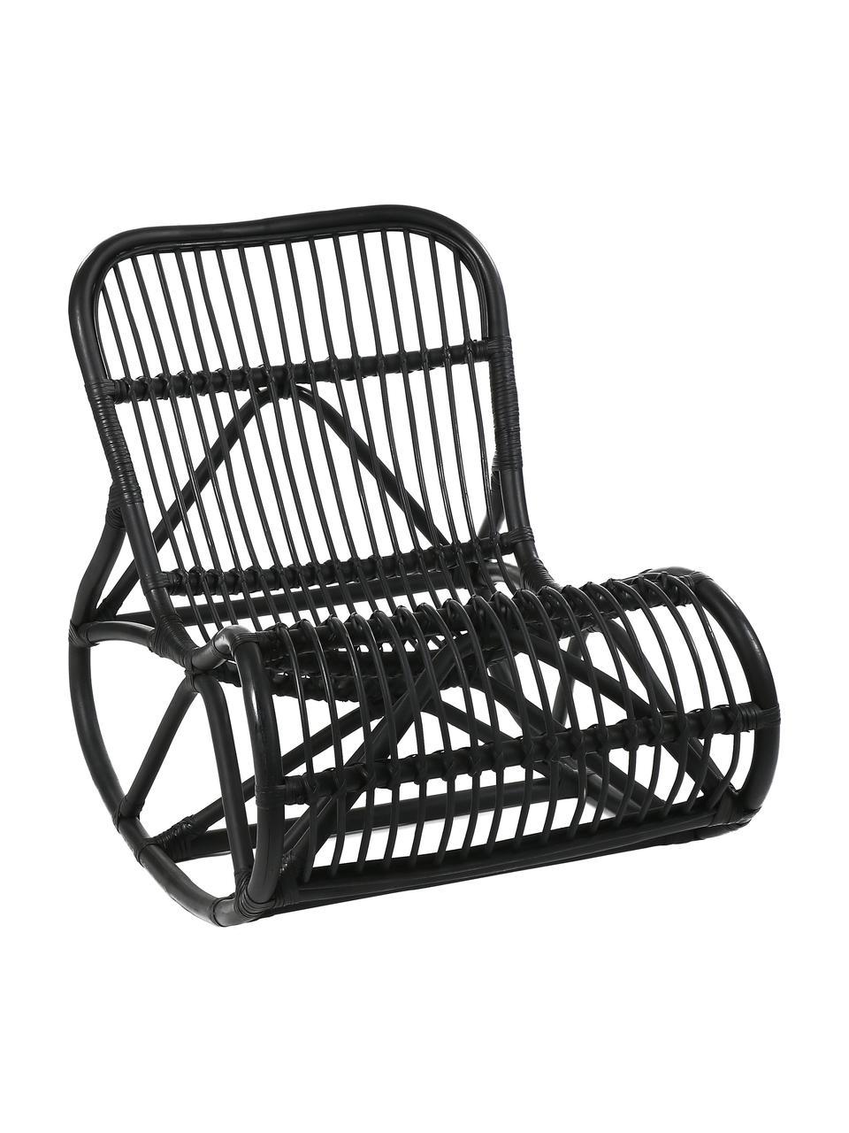 Rotan schommelstoel Kim  in zwart, Rotan, Zwart, 62 x 90 cm