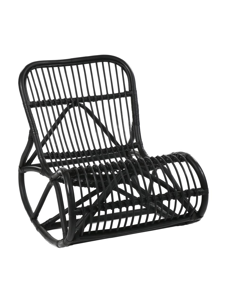 Sedia a dondolo in rattan nero Kim, Rattan, Nero, Larg. 62 x Prof. 90 cm