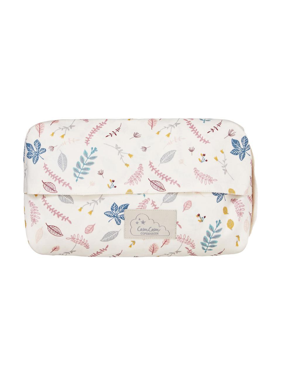 Porta salviettine in cotone organico Pressed Leaves, 100% cotone organico, Crema, rosa, blu, grigio, giallo, Larg. 25 x Prof. 17 cm