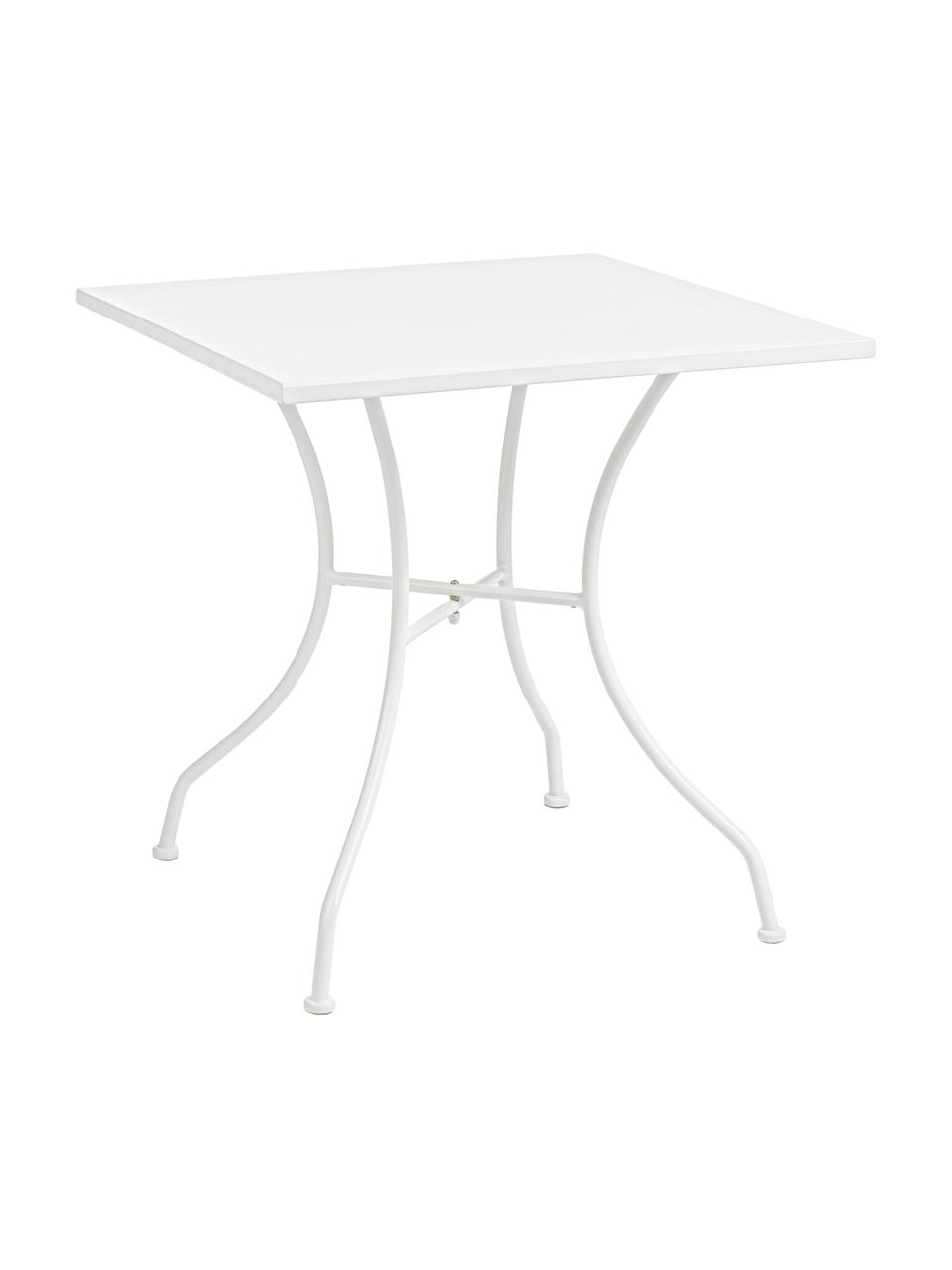Tavolino da giardino in metallo Kelsie, Acciaio verniciato, Bianco, Larg. 70 x Alt. 70 cm