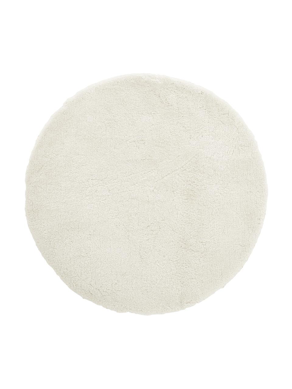 Pluizig rond hoogpoolig vloerkleed Leighton in crèmekleur, Bovenzijde: 100% polyester (microveze, Crèmekleurig, Ø 120 cm (maat S)