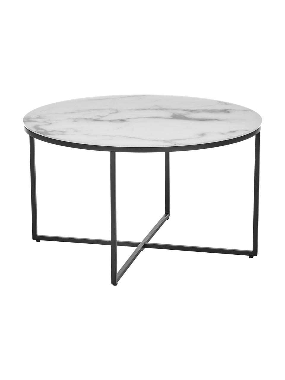 Konferenční stolek smramorovanou skleněnou deskou Antigua, Bílo-šedá mramorovaná, černá