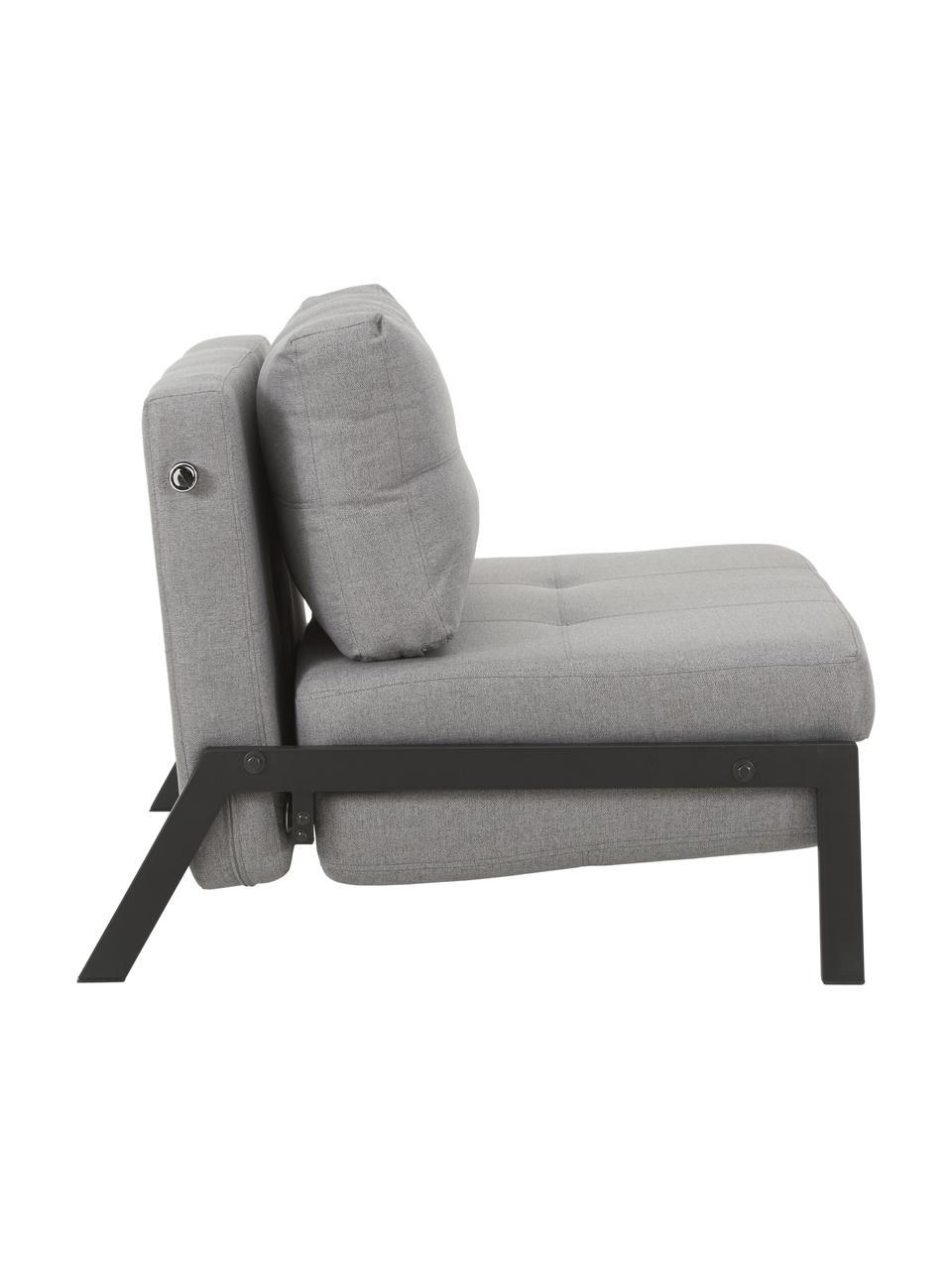 Fotel z funkcją spania z metalowymi nogami Edward, Tapicerka: 100% poliester 40000 cyk, Jasny szary, S 96 x G 98 cm