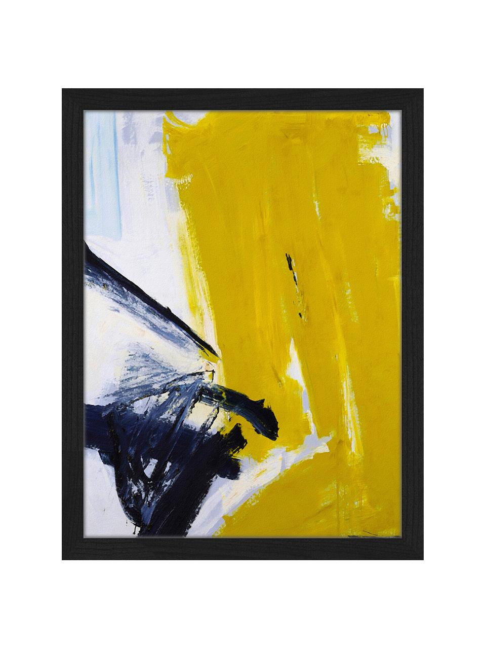 Gerahmter Digitaldruck Abstract, Bild: Digitaldruck auf Papier, , Rahmen: Buchenholz, lackiert, Front: Plexiglas, Schwarz, Weiß, Goldfarben, 53 x 63 cm