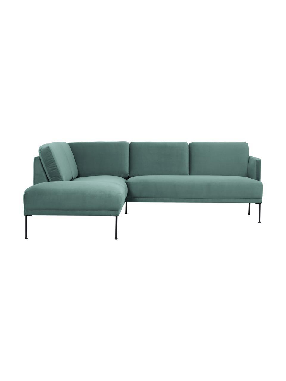 Canapé d'angle velours vert clair pieds en métal Fluente, Velours vert clair