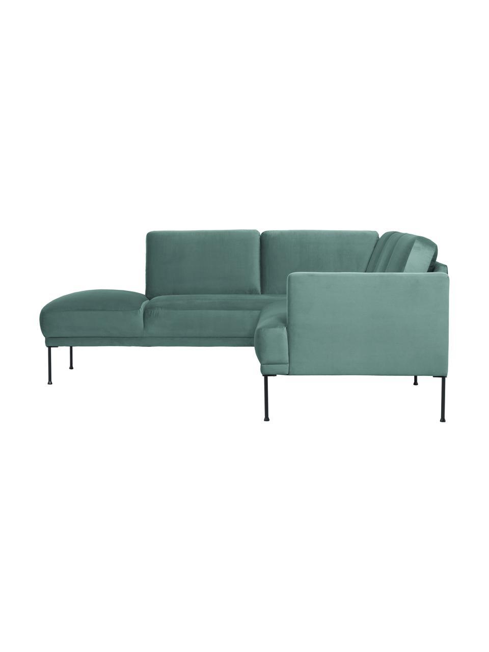 Sofa narożna z aksamitu z metalowymi nogami Fluente, Tapicerka: aksamit (wysokiej jakości, Nogi: metal malowany proszkowo, Aksamitny jasny zielony, S 221 x G 200 cm