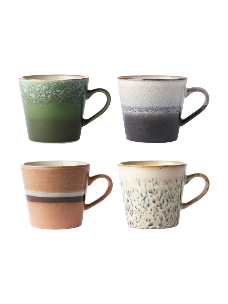 Handgemachte Tassen 70's im Retro Style, 4er-Set, Steingut, Mehrfarbig, Ø 12 x H 9 cm