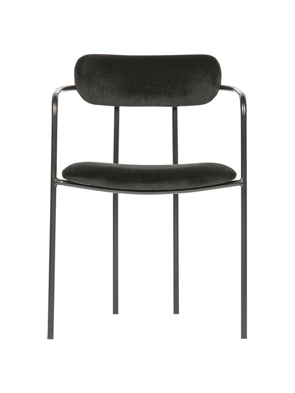 Krzesło z podłokietnikami z aksamitu z metalowym stelażem Ivy, Tapicerka: 100% aksamit poliestrowy , Stelaż: metal powlekany, Czarny, S 52 x G 50 cm