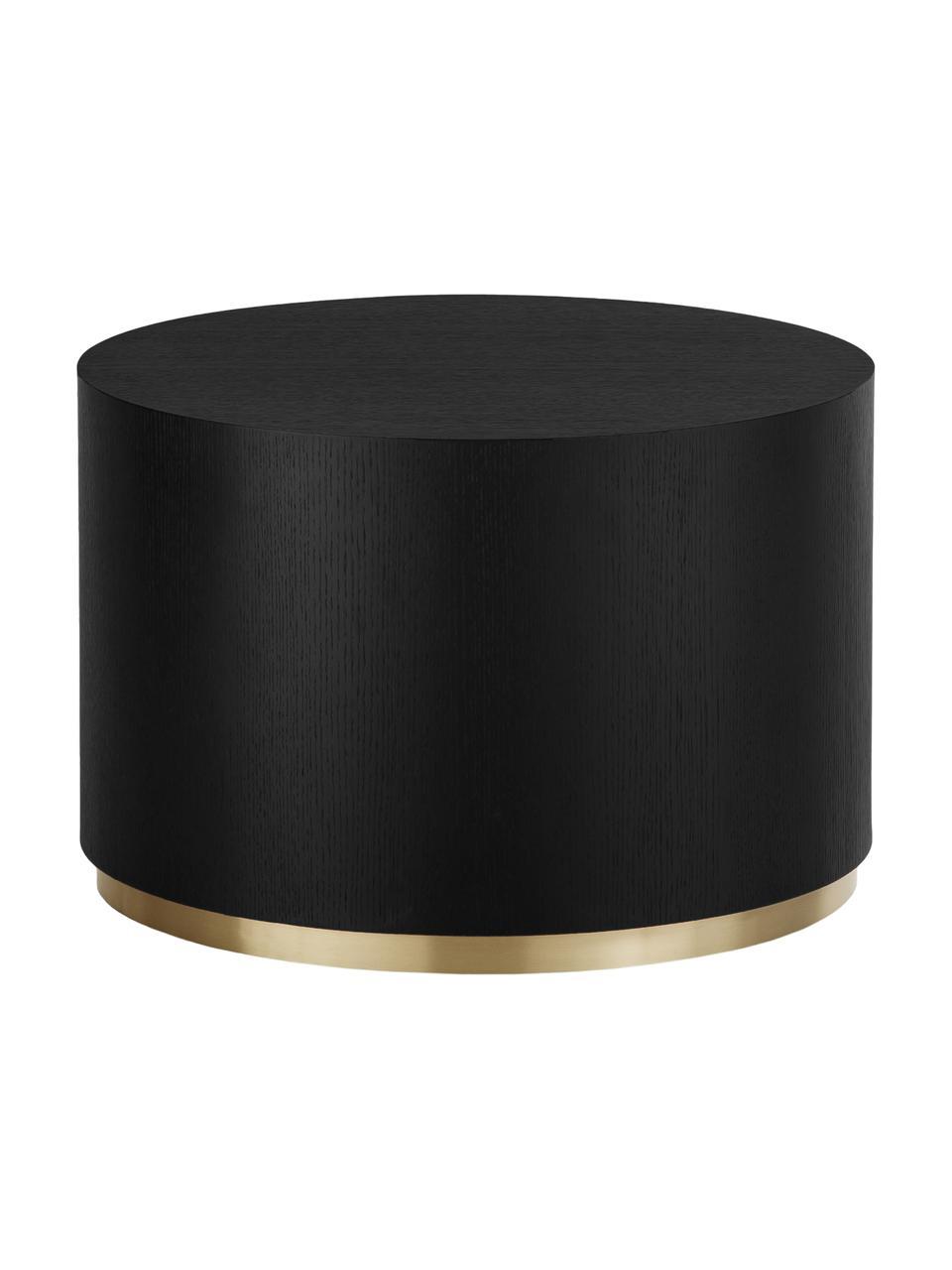 Okrągły stolik kawowy Clarice, Korpus: płyta pilśniowa średniej , Noga: metal powlekany, Korpus: drewno jesionowe, czarny lakierowany Noga: odcienie złotego, Ø 60 x W 40 cm