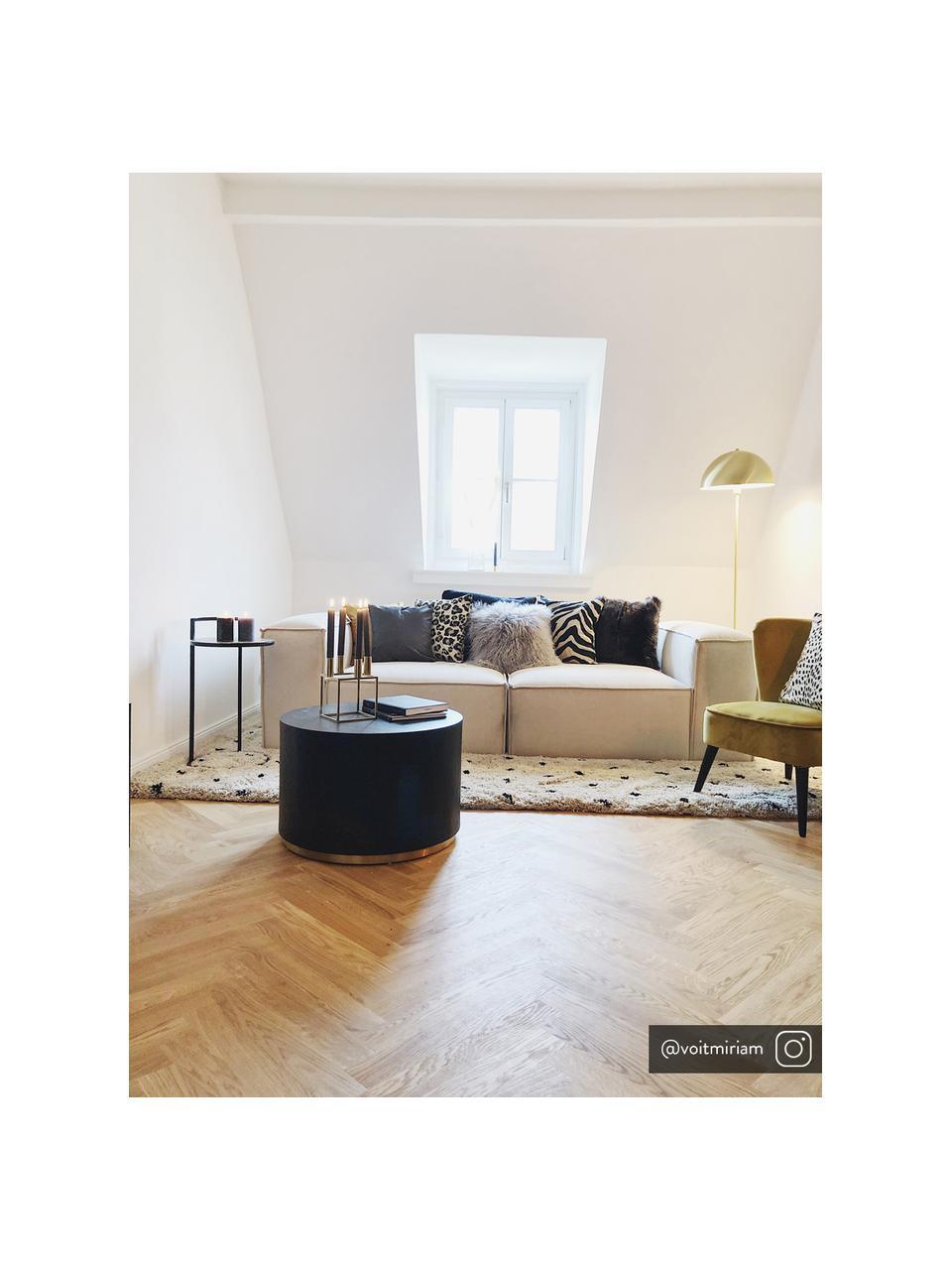 Tavolino da salotto rotondo color nero Clarice, Nero, dorato, Ø 60 x Alt. 40 cm