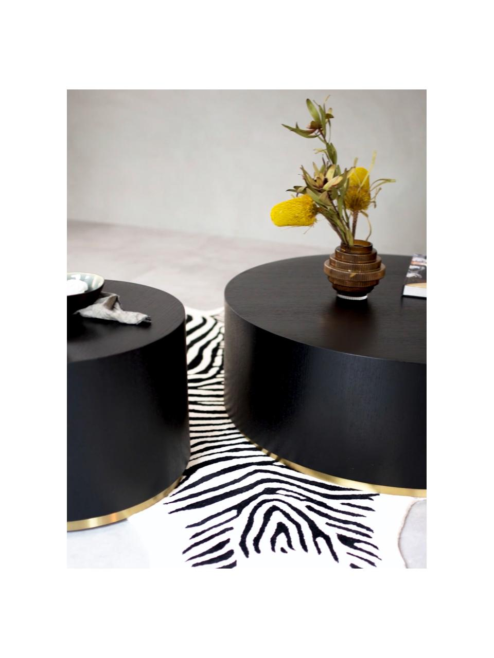 Table basse ronde Clarice, Corps: bois de frêne, noir laqué Pied: couleur dorée