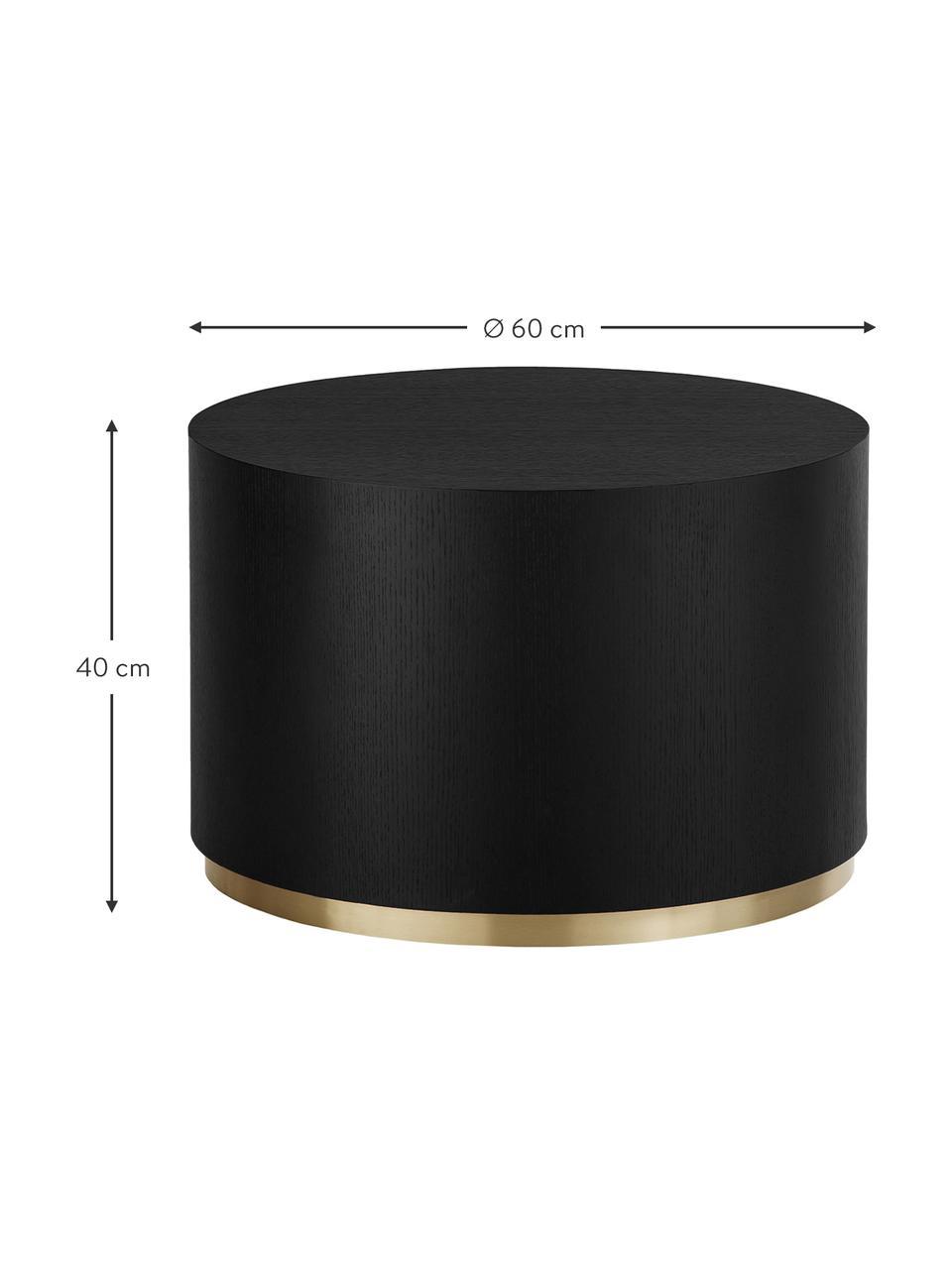 Ronde salontafel Clarice in zwart, Frame: MDF met eikenhoutfineer, Voet: gecoat metaal, Zwart, goudkleurig, Ø 60 x H 40 cm