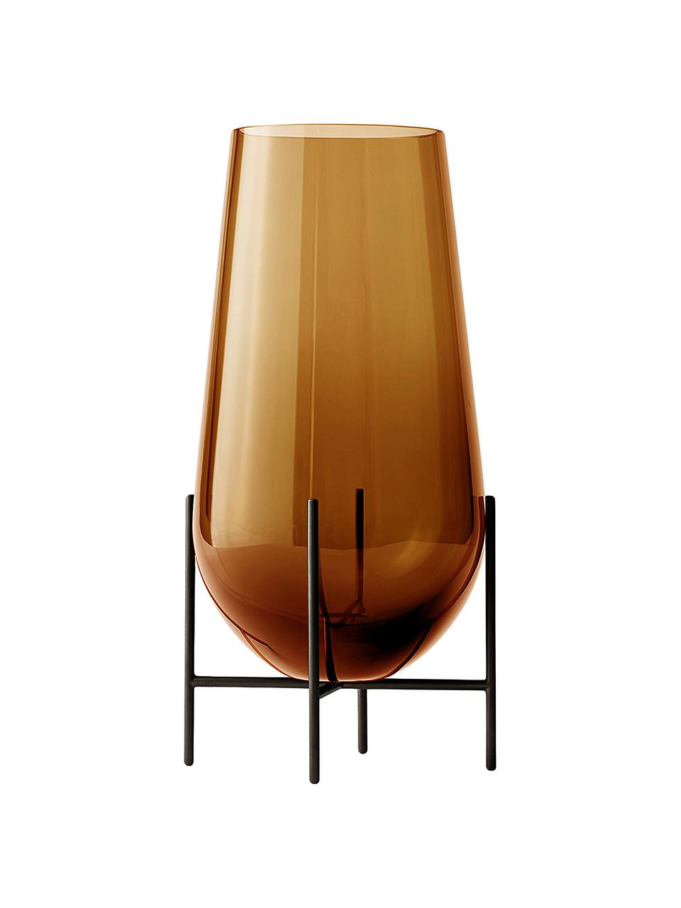 Mondgeblazen vloervaas Échasse, Frame: messing, Vaas: mondgeblazen glas, Vaas: bruin. Frame: roestkleurig, Ø 30 x H 60 cm