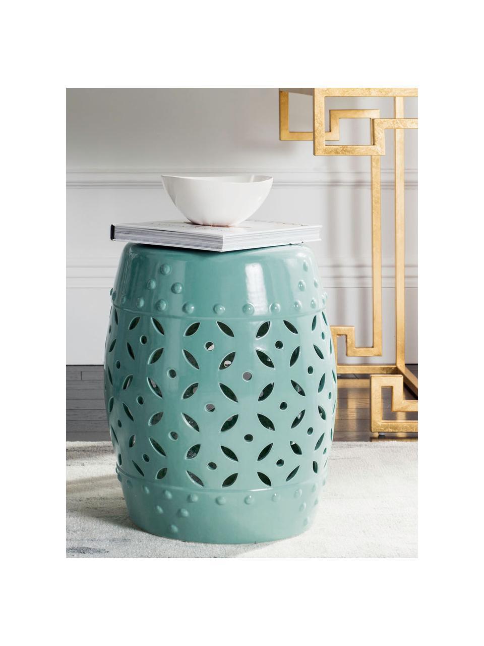 Outdoor kruk / bijzettafel Philine, Geglazuurd keramiek, Turquoise, Ø 33 x H 47 cm