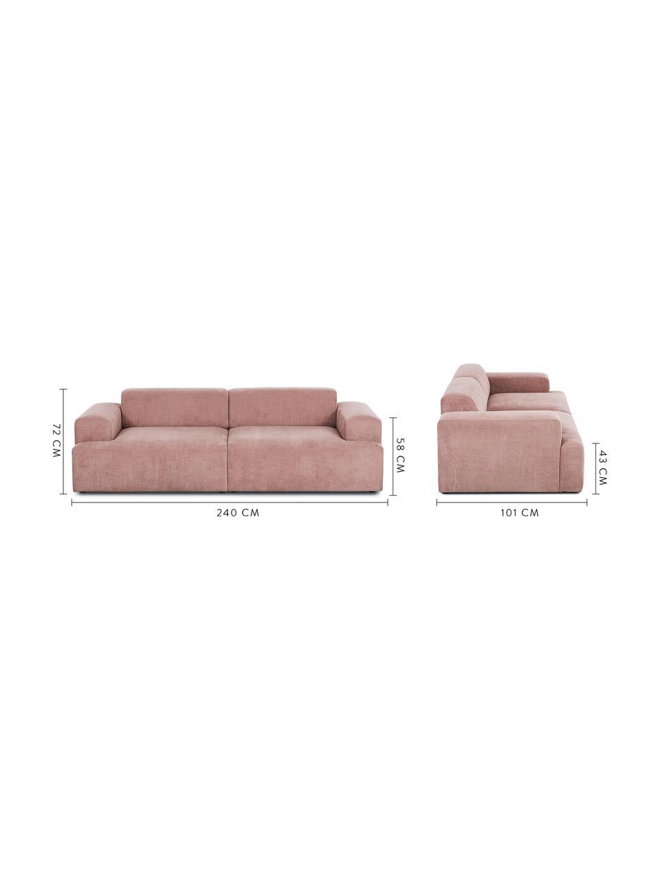 Corduroy bank Melva (3-zits) in roze, Bekleding: Koord (92% polyester, 8% , Frame: massief grenenhout, spaan, Poten: grenenhout De poten bevin, Roze, B 240 x D 101 cm