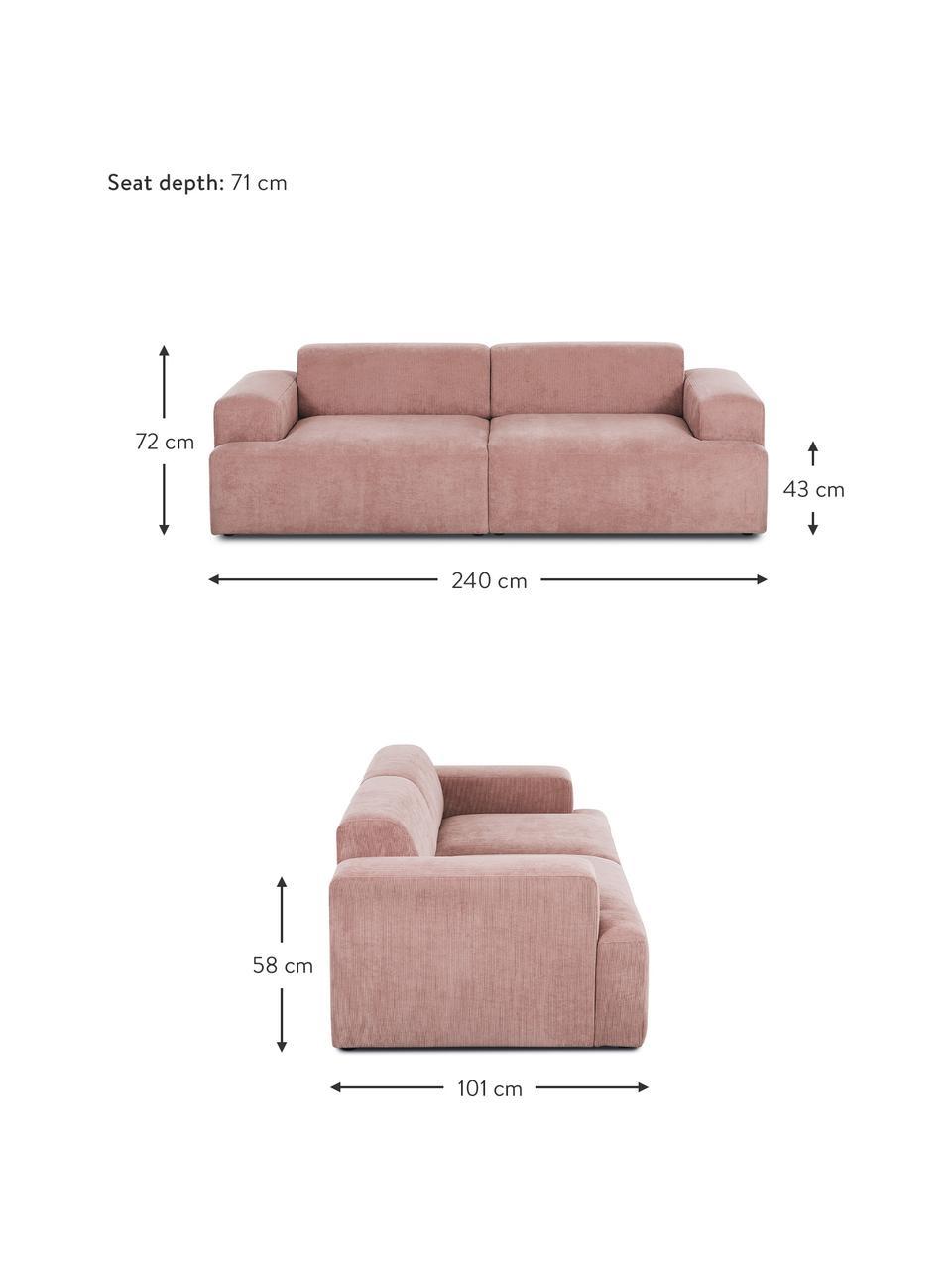 Cord-Sofa Melva (3-Sitzer) in Rosa, Bezug: Cord (92% Polyester, 8% P, Gestell: Massives Kiefernholz, Spa, Füße: Kiefernholz Die Füße befi, Cord Rosa, B 240 x T 101 cm