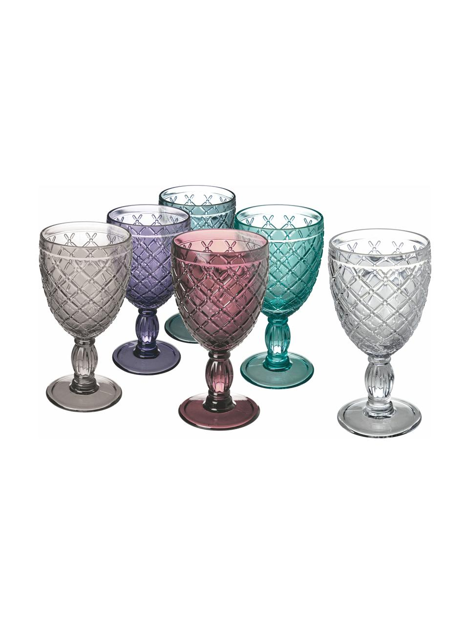 Weingläser Rombi, 6er Set, Glas, Mehrfarbig, Ø 9 x H 17 cm