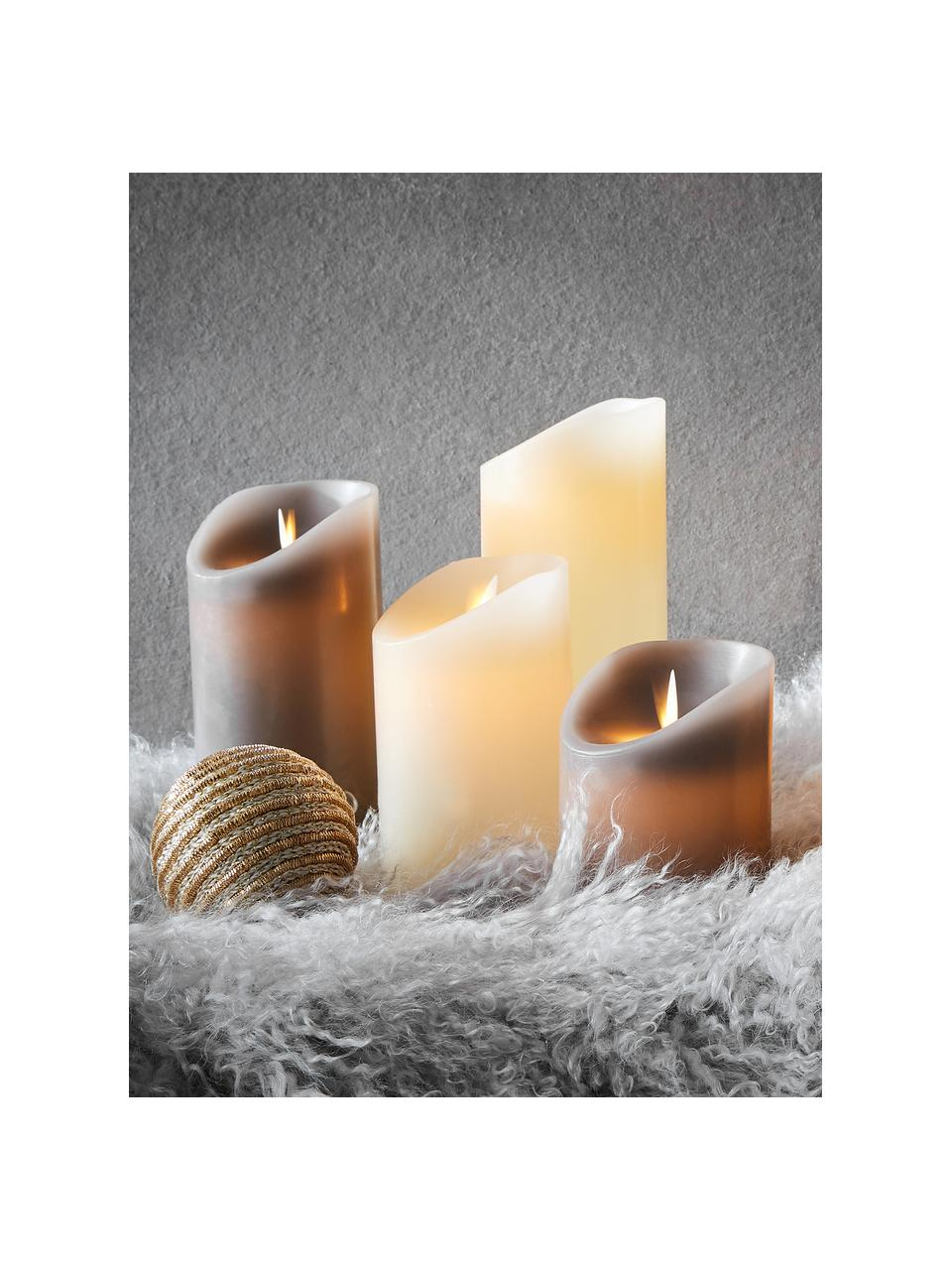 LED-Kerzen Glowing Flame, 3-tlg., Paraffin, Kunststoff, Cremefarben, Sondergrößen