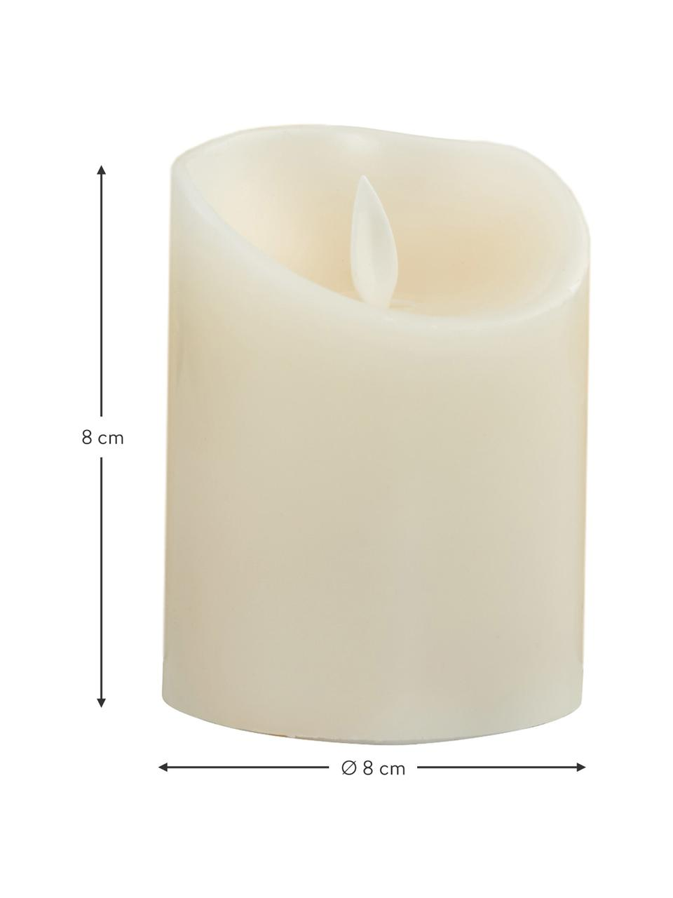 Komplet świec LED Glowing Flame, 3-elem., Parafina, tworzywo sztuczne, Odcienie kremowego, Komplet z różnymi rozmiarami