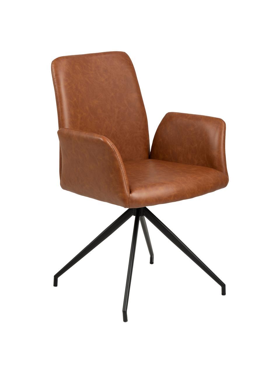 Otočná židle z imitace kůže Naya, Koňak