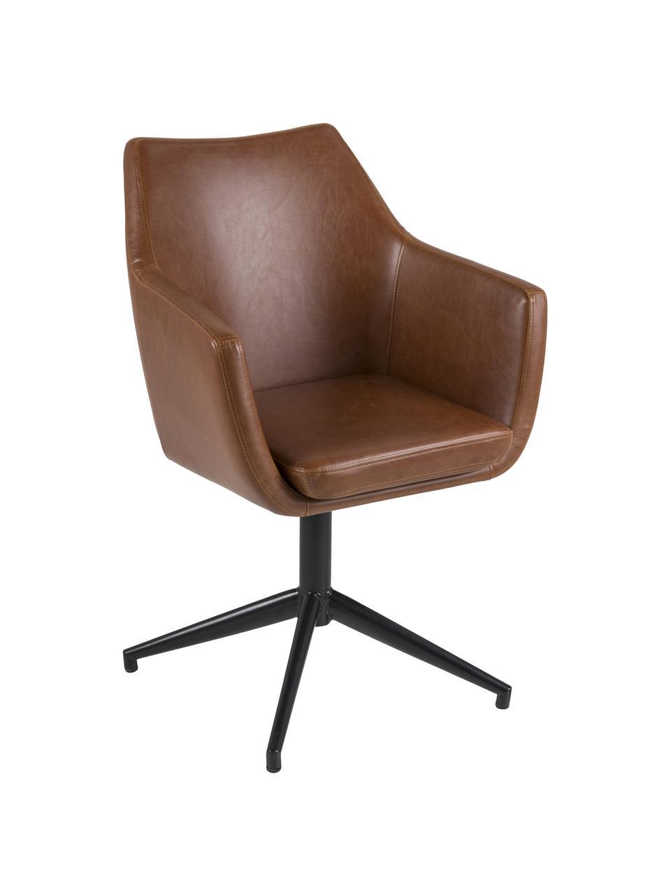 Krzesło z podłokietnikami ze sztucznej skóry Nora, obrotowe, Tapicerka: sztuczna skóra (poliureta, Stelaż: metal malowany proszkowo, Koniakowy, czarny, S 58 x G 57 cm