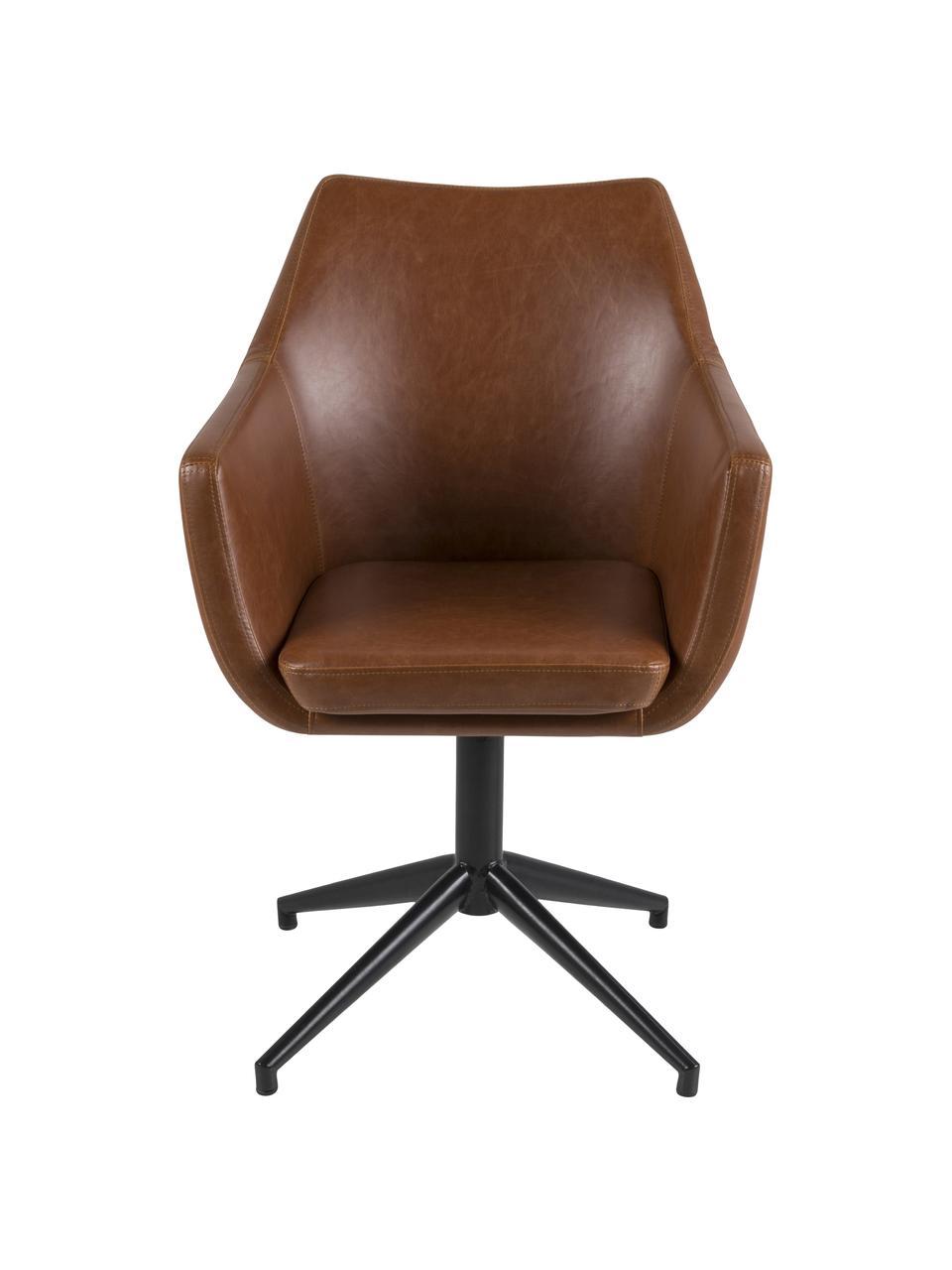 Krzesło obrotowe ze sztucznej skóry Nora, Tapicerka: sztuczna skóra (poliureta, Stelaż: metal malowany proszkowo, Koniakowy, czarny, S 58 x G 57 cm