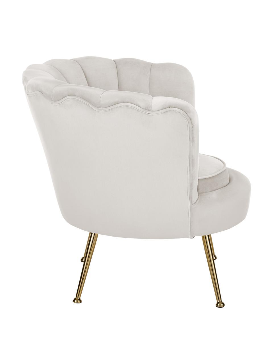 Fluwelen fauteuil Oyster in beige, Bekleding: fluweel (polyester), Frame: multiplex, Poten: gegalvaniseerd metaal, Crèmewit, B 81 x D 78 cm
